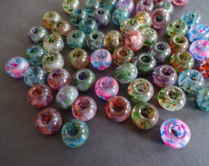 15x10mm Spray Painted Glass Rondelle Beads, Mixed Colors, Colorful Bead, Transparent, Round,  Large Rondelle, Large Hole, Multicolor, Clear