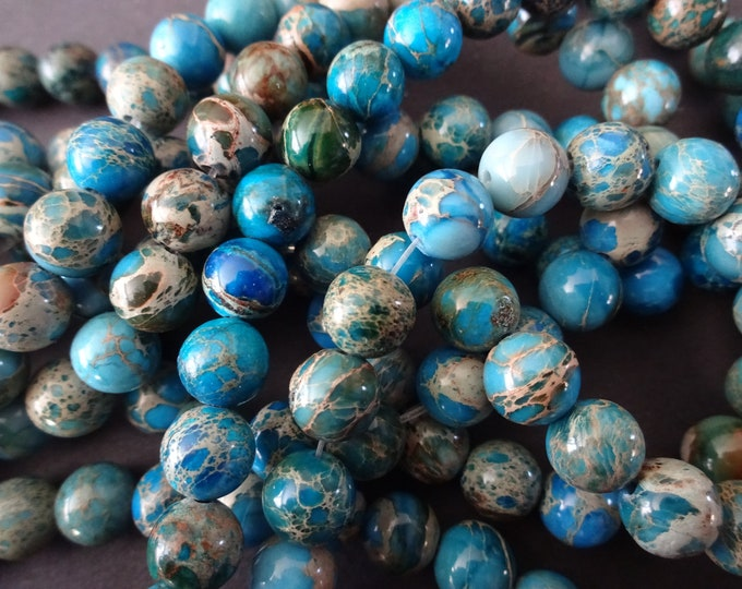 8mm Natural Regalite Blue Ball Beads, Dyed & Heated, 16 Inch Strand, About 51 Navy Blue Gemstone Beads, Natural Stone, Marbled, Mixed Colors