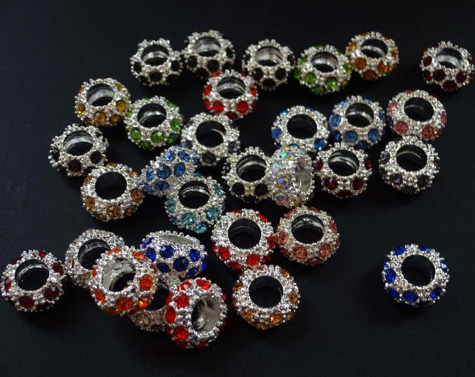 11mm Rondelle Rhinestone Beads, Mixed Color, Alloy Metal, Glass Rhinestones, European Rhinestone Beads, Large Hole, Rainbow and Silver