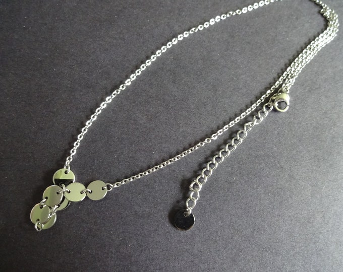 304 Stainless Steel Pendant Necklace, Silver Color, Flat Round Charms, With Extension Chain, 16 Inches Long, Classic Metallic Necklace