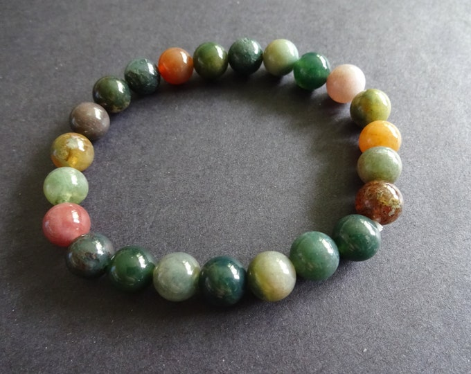 Natural Indian Agate Stretch Bracelet, Handcrafted, 8mm Ball Beads, Mixed Color, Stretchy Nylon Cord, Stone Jewelry, Friendship Bracelet