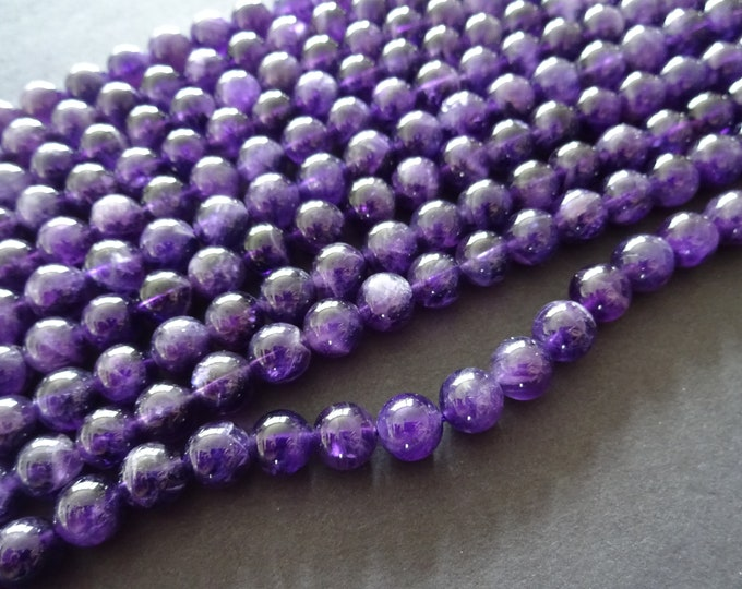 8mm Natural Amethyst Ball Beads, Deep Purple Gemstone Beads, Natural Stone, Round Amethyst Beads, About 24 Beads Per 7.6 Inch Strand