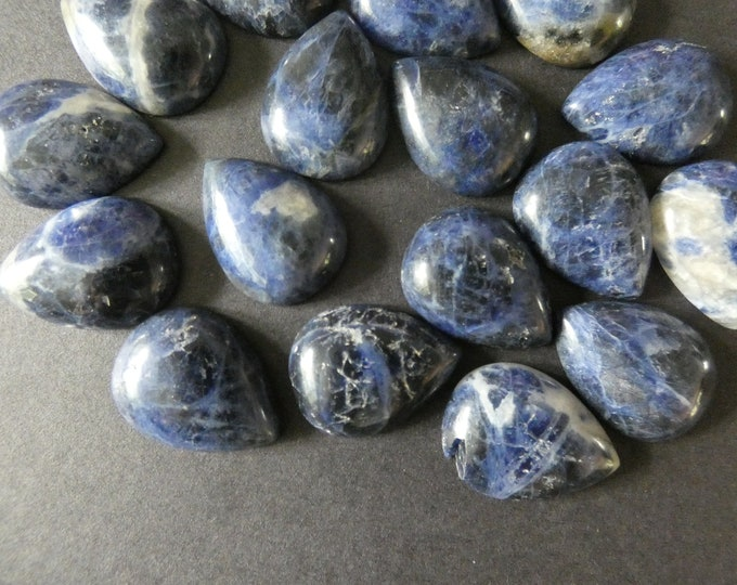 24-26mm Natural Sodalite Cabochon, Teardrop Cabochon, Polished Stone, Blue Stone Cabochon, Natural Gemstone, Spotted Stone Focal, Gems