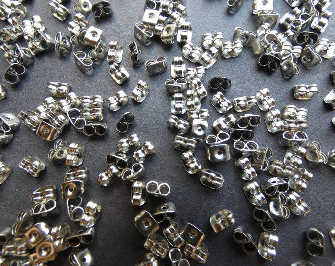 5x3mm Stainless Steel Ear Nuts, .6mm Hole, Earring Making, Jewelry Supply, Steel Earring Backs, Silver Color, Classic Backing For Earring