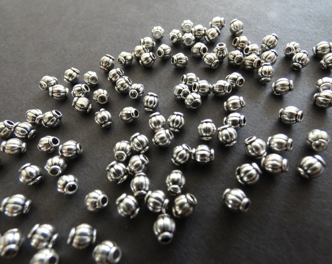 100 PACK 4mm Round Tibetan Silver Barrel Beads, Antiqued Silver Color, 1mm Holes, European Style Beads, Metal Spacers, Embellished Round