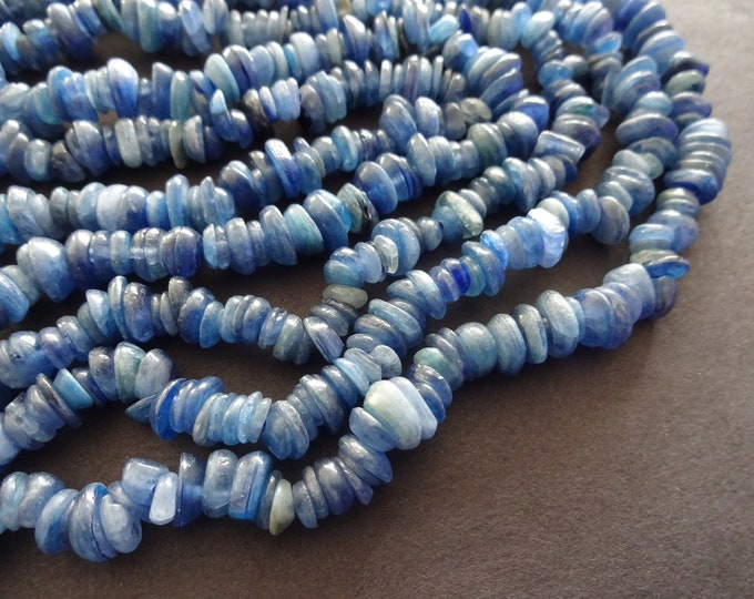 4-14mm Natural Kyanite Chip Beads, 15.5 Inch Bead Strand, About 225 Dark Blue Stones, Small Nugget Bead,  Opalescent Gemstone