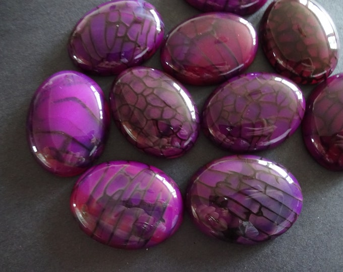 40x30mm Natural Dragon Veins Agate Gemstone Cabochon, Dyed, Oval Cabochon, Polished Gem, Purple Cabochon, Natural Gemstone, Large Agate