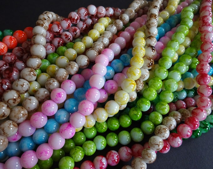 5 Strands of Glass Ball Beads, About 500 Beads, 8mm Rainbow Bead, Mixed Lot, 31 Inch Strand, Dyed, Spray Painted Design, Bright, Marbled