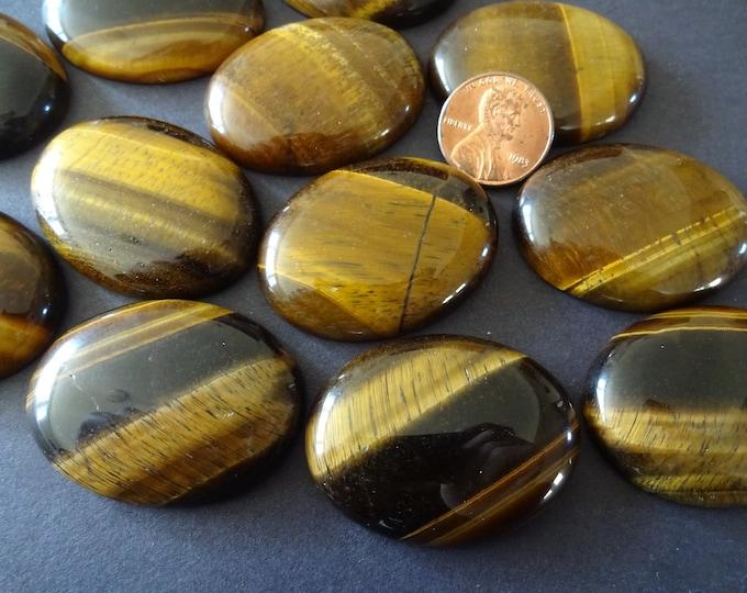 40x30mm Natural Tiger Eye Gemstone Cabochon, Oval Cabochon, Polished Gem, Large Cabochon, Natural Gemstone, Polished, Natural Tigereye