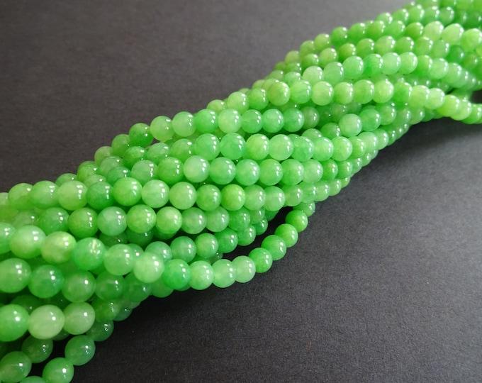 "95 Natural Yellow Jade Beads, Dyed Jade Ball Beads, 4mm Gemstone Beads, Gemstone Bead, Drilled Stone, Green Gem, 15.75"" Bead Strand, Lime"