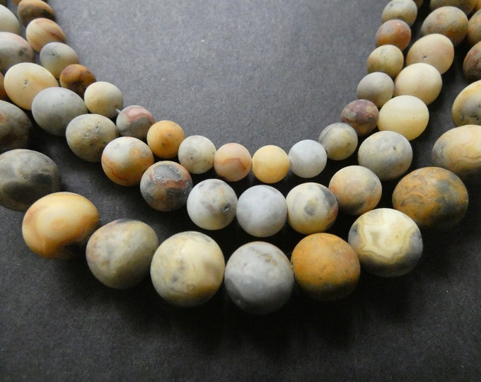 15.5 Inch 6-10mm Natural Crazy Agate Bead Strands, About 36-63 Frosted Ball Beads, Round, Precious Stone, Unfinished Agate, Beige & Orange