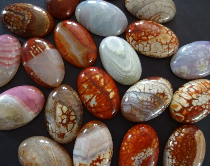 30x20x7mm Natural Fire Agate Gemstone Cabochon, Dyed, Oval Cabochon, Polished Stone Cabochon, Natural Agate Stone, Gemstone, Striped, Brown