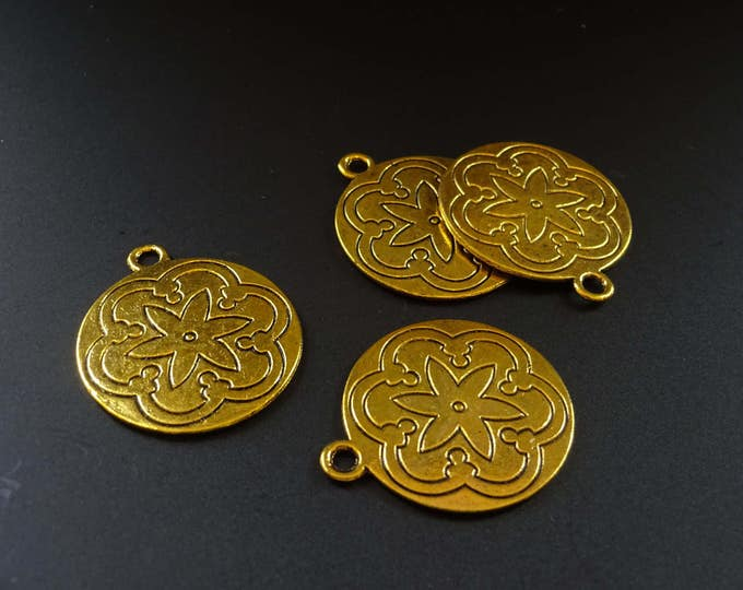 35mm Floral Golden Pendant, Large Pendant, Decorative Floral Pendant, Decorative Focal, Flat Pendant, Circular Flat Flower Pendant, Golden