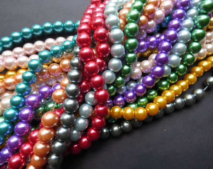 5 Strands Glass Faux Pearl Bead, Dyed 10mm Ball Beads, 32 Inch Strands, About 85 Beads Per Strand, Pearlized Glass, Round, Mixed Color