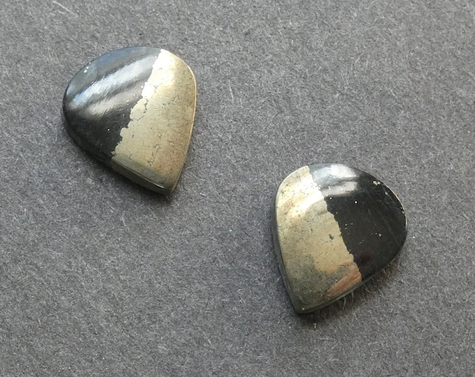 2PC Set 15x13mm Apache Gold Cabochon, Black & Gold, One Of A Kind, As Seen In Image, Only One Available,Apache Gold Cabochon, Unique, Set