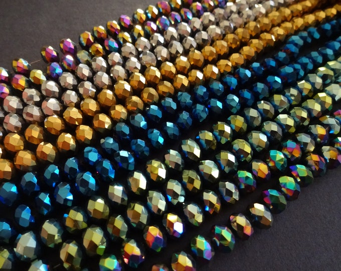 72 Electroplated Faceted Rondelle 8x6mm Glass Beads, Faceted Oval Colorful Bead, Multi Color Rondelle Bead, Brilliant Faceted Bead