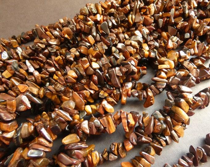 36 Inch 5-8mm Natural Red Tigereye Nugget Bead Strand, About 200 Tiger Eye Gemstones, Natural Polished Drilled Chips, Tiger's Eye, Reddish