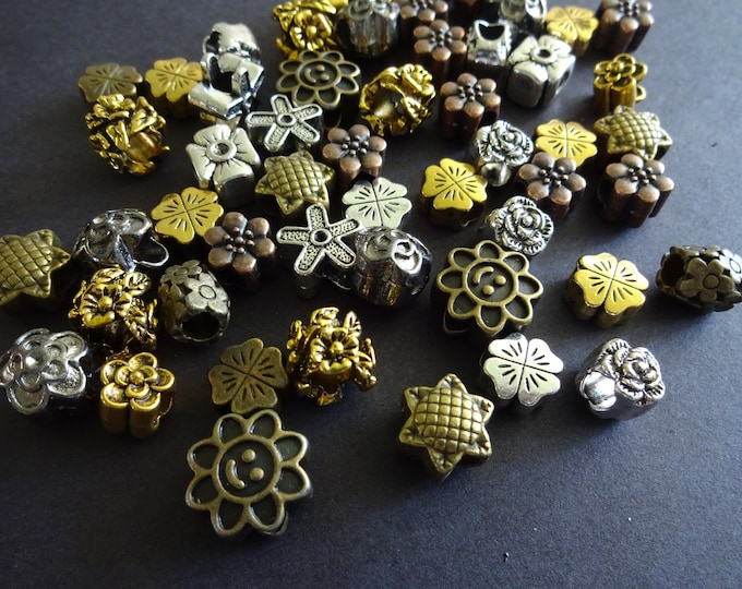 8-13mm Tibetan Metal Flower Beads Mixed Lot, 5 Color Bead Mix, Vintage Style, Floral Mixed Lot Of Styles, Metal Flowers, Antique Bead