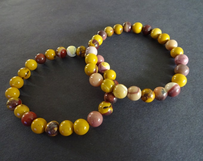 Natural Mookaite Stretch Bracelet, 8mm Ball Beads, Mixed Neutral Colors, Stretchy Cord, Beaded Gemstone Bracelet, Beige, Brown & Yellow