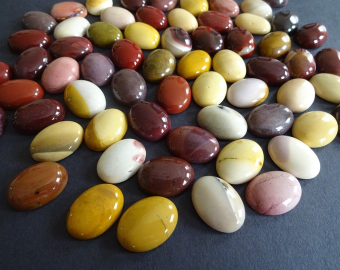 Set of 3 Natural Mookaite Gemstone Cabochon, 20x15x6.5mm, Mixed Colors, Oval Cabochon, Polished, Stone Cabochon, Natural Gemstone, Earthtone