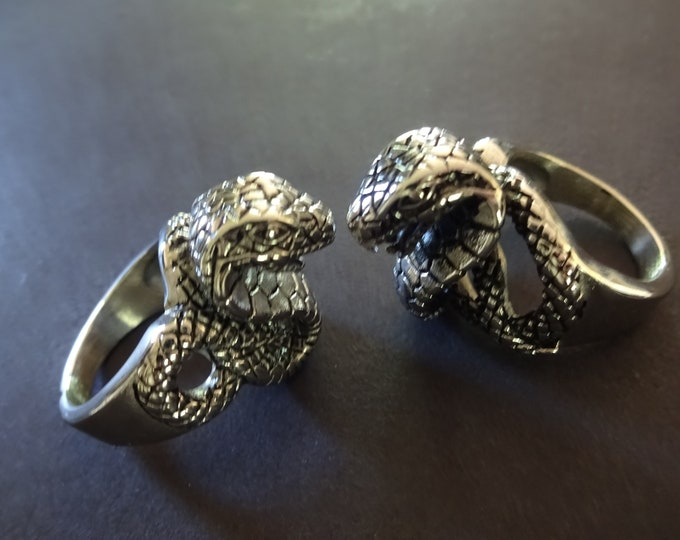 316L Stainless Steel Snake Ring, Striking Snake Head Steel Band, Silver Color, Intricate Snake Design, Large Band With Animal Theme