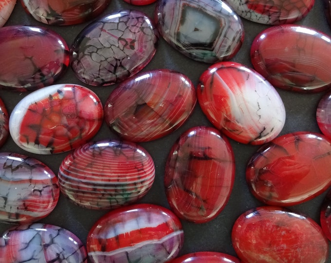 35x25mm Natural Dragon Veins Agate Gemstone Cabochon, Dyed, Oval Cabochon, Polished Gem, Dark Red Cabochon, Natural Gemstone, Agate Stone