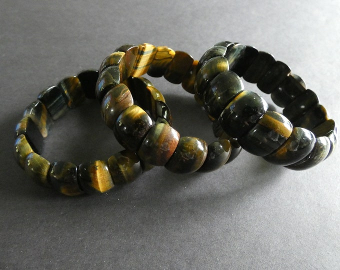 Stretch Natural Tiger Eye Bracelet, Large Rounded Rectangle Beads, Tigereye Gemstone, Stretchy Cord, Stone Jewelry, Deep Browns, Tiger's Eye
