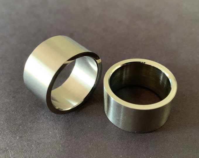 Thick Titanium Steel Ring, Brushed Band, 12mm Wide, Handcrafted Titanium Ring, Men's Ring, Unisex Jewelry, Wedding Band, Engagement Ring