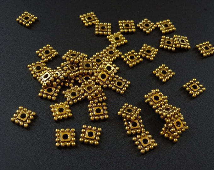 7mm Antiqued Square Spacer Beads, Square Beads, Antique Gold Color, Diamond Shape, Square Shape, Bead Spacers, Geometric Designs, Vintage
