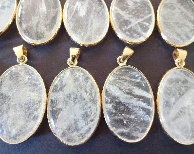 35-36mm Natural Quartz Pendant With Gold Plated Brass Metal, Snap On Bail, Oval Quartz Pendant, Polished Gemstone Jewelry, Stone Charm
