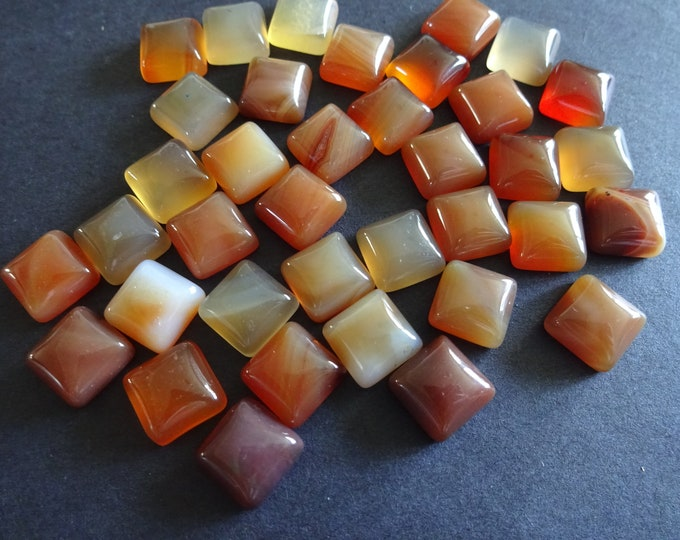 10x10mm Natural Carnelian Cabochon, Square Gemstone Cabochon, Red Jewelry Stone, High Quality Polished Gem, Translucent, Red-Orange