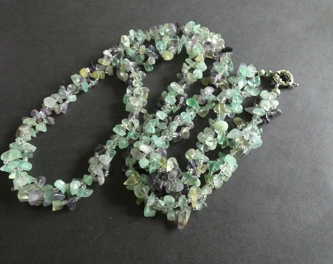 35.4 Inch Natural Fluorite Bead Necklace, With Glass Seed Beads, Stone Chips, Purple & Green, Nugget Beads, Spring Clasp, Extra Long
