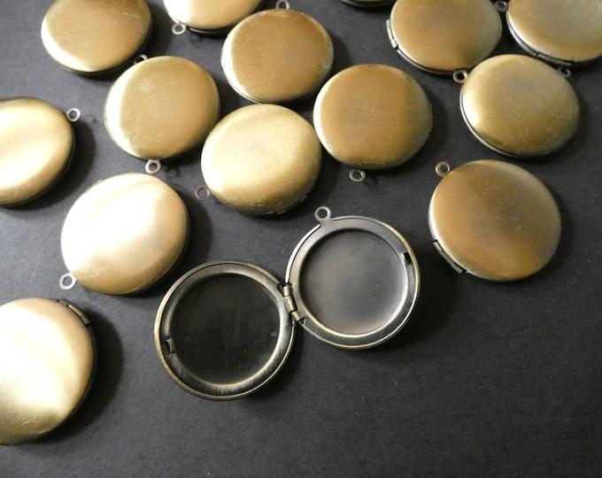 32.5mm Brass Locket Pendant, Bronze Circle Pendant, Flat Round, Custom Jewelry Making, DIY Basic Photo Locket Charms, Antiqued Charm