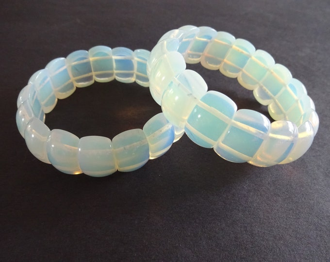 Opalite Bead Handcrafted Stretch Bracelet, Large Rounded Rectangle Beads, Opalescent Clear & White, Stretchy Cord, Synthetic Stone Jewelery