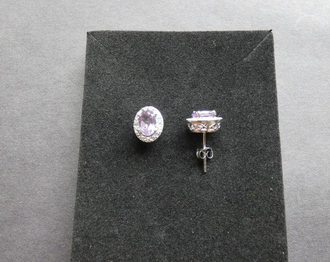 Sterling Silver & Natural Amethyst and Topaz Earrings, Studs, Women's Stone Jewelry, Purple Gemstones, Rhinestones, Large Oval Earrings