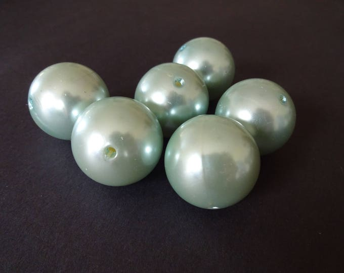 27mm Large Faux Pearl Beads, Turquoise Acrylic Bead, Large Ball Bead, Pale Bead, Chunky Bead, Extra Large, Light Blue Ball Bead, Round Bead