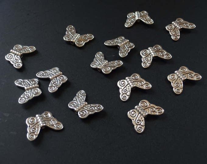 11x15mm Tibetan Silver Butterfly Bead, Antique Silver Color, Butterfly Bead, Metal Spacer, Metal Bead, Butterflies, Antique Nature Bead