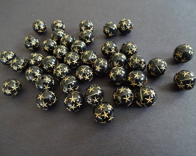 12mm Acrylic Star Ball Beads, 12mm Ball Bead, Nautical Bead, Starfish Bead, Black Ball Bead, Star Bead, Nautical Jewelry, Star Jewelry