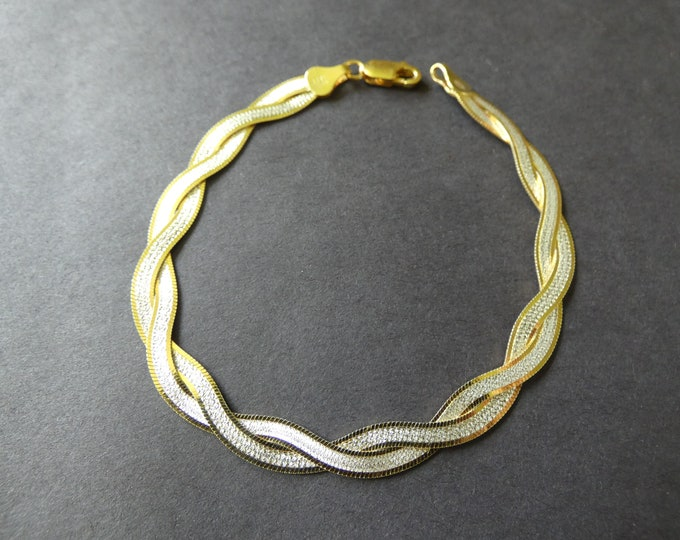 Sterling Silver Two Tone Bracelet, Herringbone Design,Two Strand, Braided, Lobster Claw Clasp, Gold and Silver Colors, Chain Bracelet