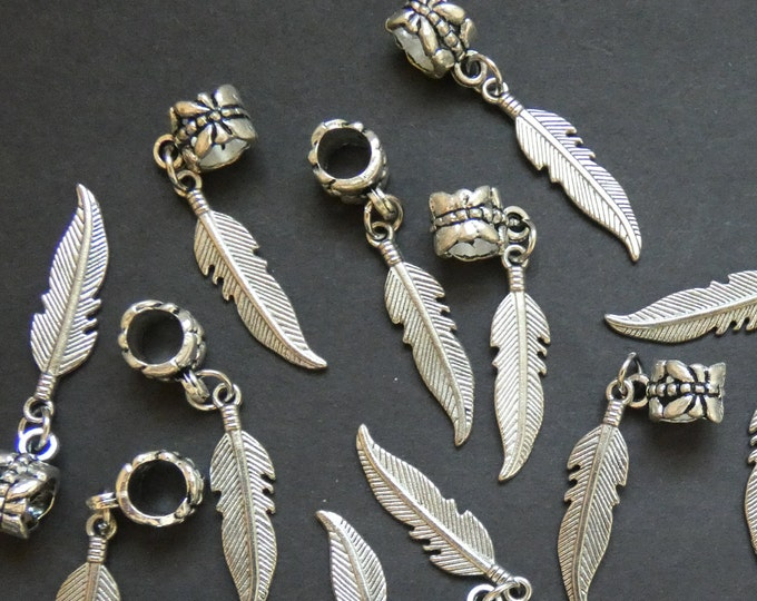 37mm European Feather Drops, Etched Feather Dangle Beads, Feather Drop Bead, Pewter Drop, 37mm Drop, Feather Pendant, Bird Charm
