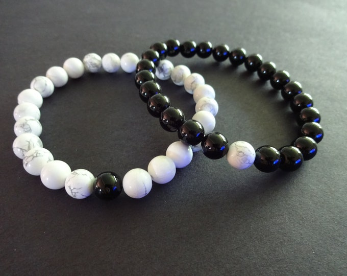 Natural Howlite & Black Agate Bracelet, Stretchy Cord, 8mm Stone Ball Beads, Black and White, Stone Jewelry, Stretch Gemstone Bracelet