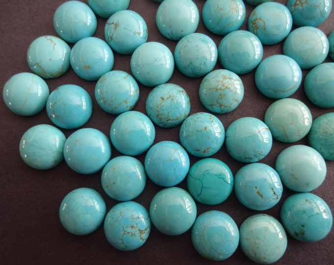 12x6mm Natural Turquoise Gemstone Cabochon, Dyed, Dome Cabochon, Polished Teal Blue Cabochon, Natural Stone, High Grade, Turquoise Jewelry