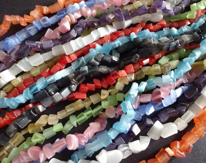 5 Strands Cat Eye Beads, 4-9mm, Mixed Lot Of Colors, 32 Inch Strands, Mixed Colors, Small Square Pieces, Cat Eye, Drilled Cateye, 5 Pack