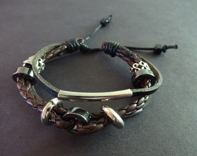Alloy Metal & Faux Leather Bracelet, Imitation Faux Leather, Brown, Black and Silver, Adjustable, Leather Woven Jewelry With Beads, Unisex