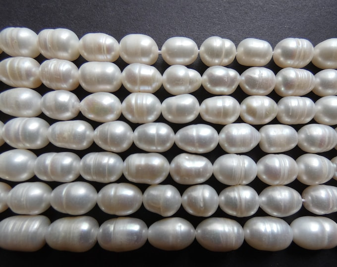 14 Inch 8-9 Natural Freshwater Pearl Bead Strand, About 36 Beads, Rounded Rice Shape, Oval Pearls, White Pearl Beads, Pearl Jewelry