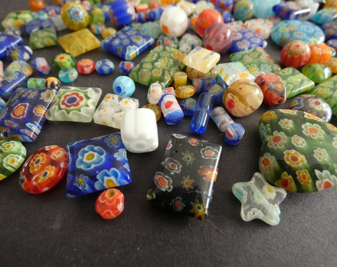 50 PACK Glass Millefiori Bead Mix, 4-20mm, Shape & Size Variety, Glass Bead Mixed Lot, Multicolor Bead, Flower Millefiori Patterns, Rainbow