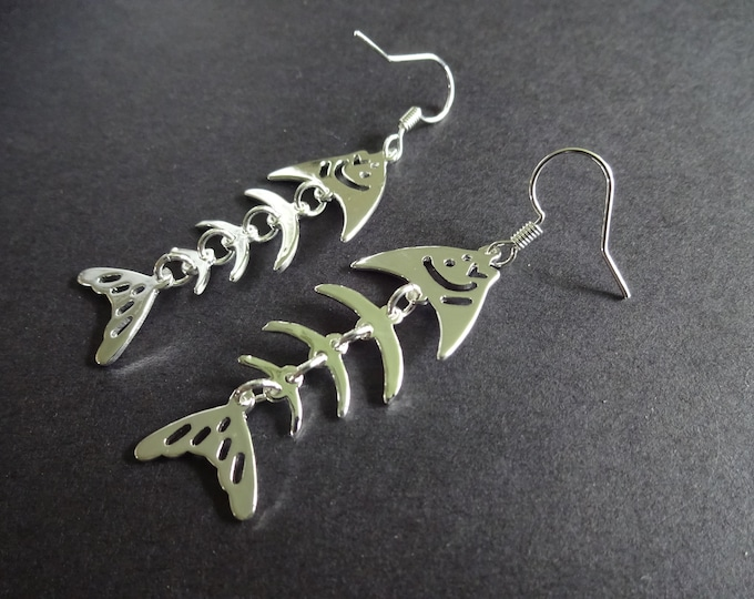 Fishbone Brass Earrings, Metal Dangles, Skeleton Design, Silver Color, Fish Bones, Hook Earrings, Fun Animal Theme Jewelry. For Animal Lover