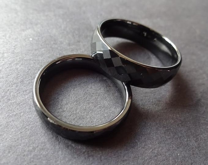 Diamond Cut Ceramic Ring, Geometric Ceramic Band, Black Ceramic Ring, His or Her Ring, Diamond Cut Ring, Diamond Cut Design, Black Ceramic