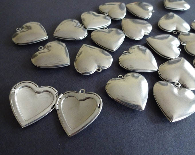 304 Stainless Steel Heart Locket Pendant, 29mm Heart Pendant, Metal Focal, Custom Jewelry Making, Basic Photo Locket Charms, Silver Color