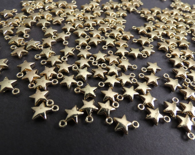 8.5x7mm Alloy Metal Star Chams, Light Gold Color, Star Dangle Pendant, Cute Jewelry Charms, Solar Theme, Small Necklace & Bracelet Charms